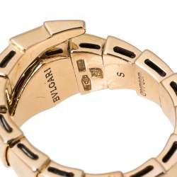Bvlgari Serpenti Viper Diamond 18K Rose Gold One-Coil Ring Size 51