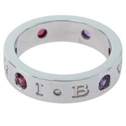 Bvlgari BVLGARI BVLGARI Diamond Amethyst Tourmaline 18K White Gold Ring Size 54