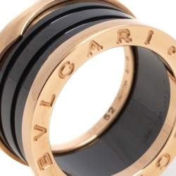 Bvlgari B.Zero1 4-Band Black Ceramic 18K Rose Gold Band Ring Size 52