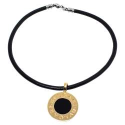 Bvlgari Black Onyx 18K Yellow Gold & Stainless Steel Reversible Pendant Leather Necklace