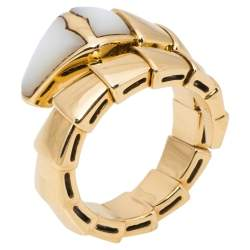 Bvlgari Serpenti Mother of Pearl 18K Yellow Gold Ring Size 51