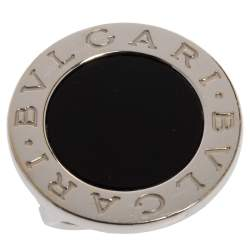 Bvlgari Onyx Inlay 18K White Gold Circular Ring Size 52