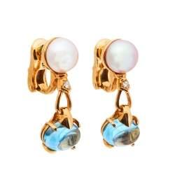 Bvlgari Allegra Cultured Pearl Diamond Blue Topaz 18k Yellow Gold Clip On Drop Earrings