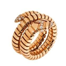 Bvlgari Serpenti Tubogas Diamond 18K Rose Gold Double Spiral Ring Size 57