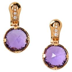 Bvlgari Parentesi Cocktail  Amethyst Diamond 18K Rose Gold Earrings