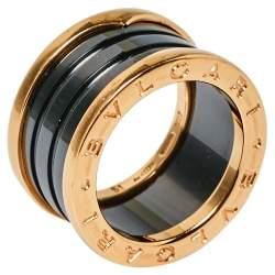 Bvlgari B.Zero1 Ceramic 18K Rose Gold Ring Size 51