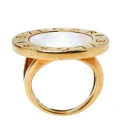 Bvlgari Mother of Pearl Inlay 18K Yellow Gold Circular Ring Size 52
