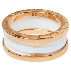 Bvlgari B.Zero1 Ceramic 18K Rose Gold Two Band Ring Size 50