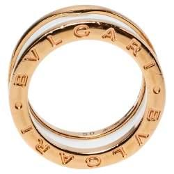 Bvlgari B.Zero1 Ceramic 18K Rose Gold Two Band Ring Size 50