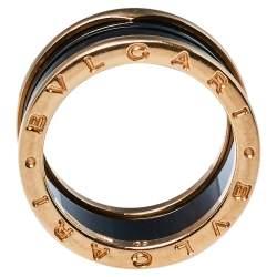 Bvlgari B.Zero1 Ceramic 18K Rose Gold Four-Band Ring Size 60