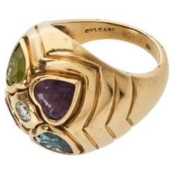 Bvlgari Diamond Multicolor Heart Shaped Gemstone 18K Yellow Gold Ring Size 52