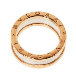 Bvlgari B.zero1 White Ceramic 18K Rose Gold Two-Band Ring Size 56