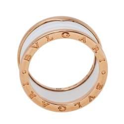 Bvlgari B.Zero1 White Ceramic 18K Rose Gold Four-Band Ring Size 60