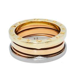 Bvlgari B.zero1 18K Three Tone Gold Three-Band Ring Size 54