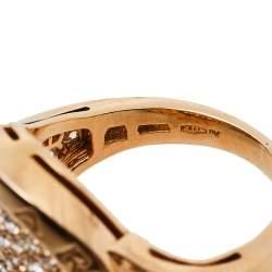 Bvlgari Bvlgari Pave Diamond 18K Rose Gold Ring Size 50.5