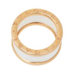 Bvlgari B.Zero1 White Ceramic 18K Rose Gold 4 Band Ring Size 55