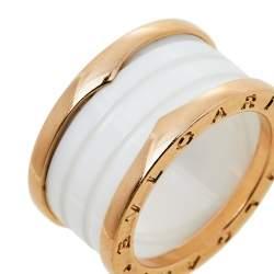 """خاتم بلغاري """"بي.زبرو1"""" 4 حلقات ذهب وردي عيار 18 و سيراميك أبيض مقاس 55"""