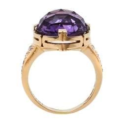 Bvlgari Parentesi Amethyst Diamond 18k Rose Gold Cocktail Ring Size 55