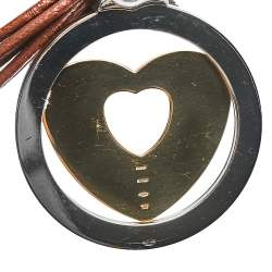 Bvlgari Tondo Heart 18K Yellow Gold & Stainless Steel Large Pendant Cord Necklace