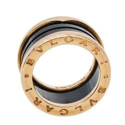 Bvlgari B.Zero1 4-Band Black Ceramic 18K Rose Gold Band Ring Size 51