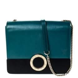 Bvlgari Teal/Black Leather and Perspex Small Flap Cover Shoulder Bag