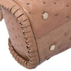 Bvlgari Tan Ostrich Leather Twistino Tina Satchel