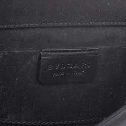 Bvlgari Black Satin Leoni Flap Clutch