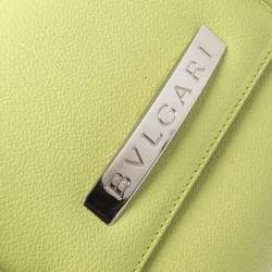 Bvlgari Neon Green Leather Flap Satchel