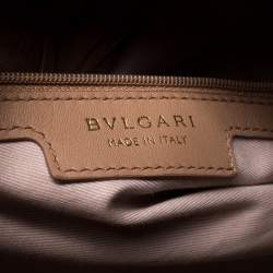 Bvlgari Nude Beige Willow Matelasse Leather Monete Tote
