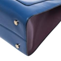 Bvlgari Blue/Maroon Leather Serpenti Scaglie Tote