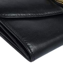 Bvlgari Black Leather Double Ring Flap Continental Wallet