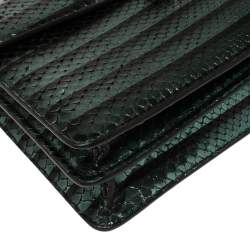 Bvlgari Green Python Medium Serpenti Forever Flap Shoulder Bag