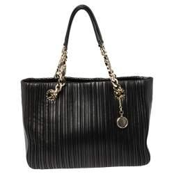 Bvlgari Black Nappa Leather Monte Plisse Shopper Tote