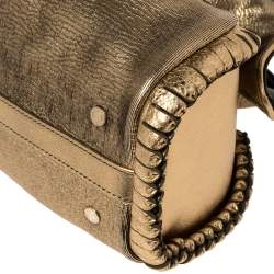 Bvlgari Metallic Gold Leather Twistino Tina Satchel