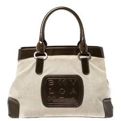 Bvlgari Dark Brown/Grey Canvas and Patent Leather Middle Zip Tote