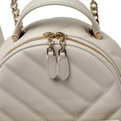 Bvlgari White Quilted Leather Serpenti Cabochon Backpack