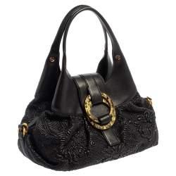 Bvlgari Black Leather Chandra Hobo