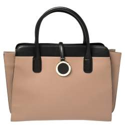 Bvlgari Black Beige Leather Alba Tote