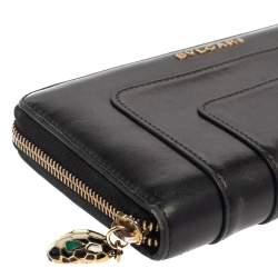 Bvlgari Black Leather Serpenti Forever Zip Around Wallet