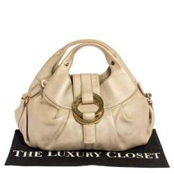 Bvlgari Metallic Gold Leather Chandra Hobo