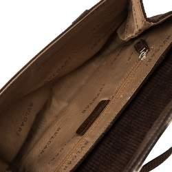 Bvlgari Mocha Brown Corduroy and Patent Leather Logo Flap Top Handle Bag