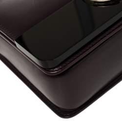 Bvlgari Plum/Black Leather and Perspex Small Flap Cover Shoulder Bag