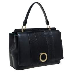 Bvlgari Black Leather and Python Double Side Flap Top Handle Bag
