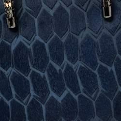 Bvlgari Blue Leather and Calf Hair Serpenti Scaglie Tote