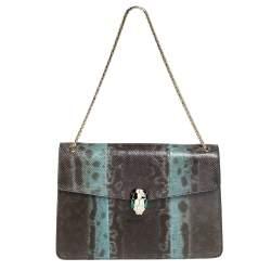 Bvlgari Green Karung Medium Serpenti Forever Shoulder Bag
