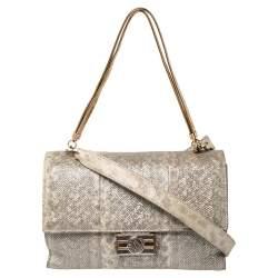 Bvlgari Grey Iridescent Karung Flap Shoulder Bag