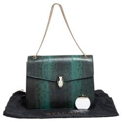 Bvlgari Green Karung Large Serpenti Forever Shoulder Bag
