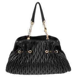 Bvlgari Black Plisse Leather Twistino Tina Tote