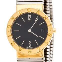 Bvlgari Black 18K Yellow Gold and Stainless Steel Tubogas Women's Wristwatch 30MM