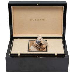 Bvlgari Serpent Tubogas Rose Gold Black Dial Diamond Bezel Wristwatch Small Size